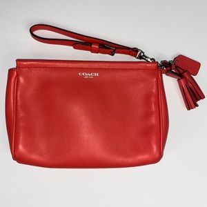 Coach Legacy Large Leather Wristlet/Clutch Coral
